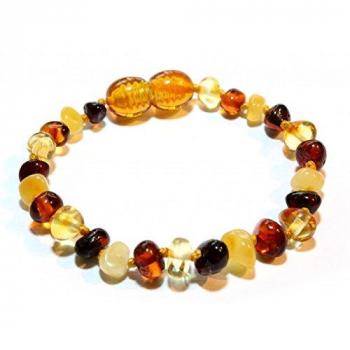 Bracelet bébé en ambre multicolore de la Baltique.