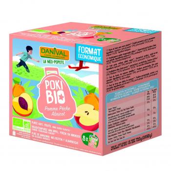 Poki Bio pomme-pêche-abricot 8x90g bio - Danival