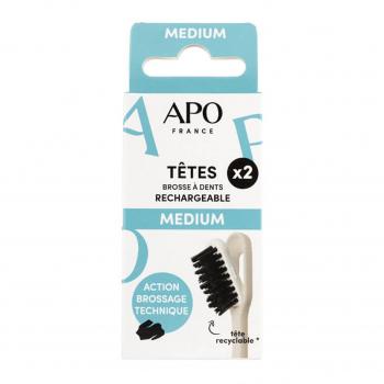 Recharges brosse à dents rechargeable médium x2 - APO