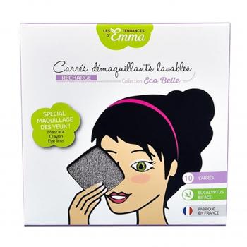 Recharge carrés démaquillants lavables eucalyptus biface gris x10 - Les Tendances d'Emma