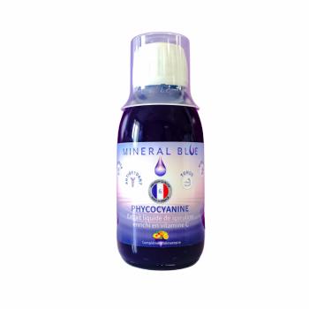 Phycocyanine en Sirop 6g/l - Extrait liquide de spiruline concentré enrichi en vitamine C - Pêche citron - 150ml