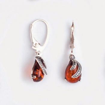Boucles d'oreilles ambre sur argent 925.