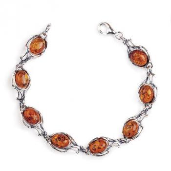 Bracelet en ambre cognac sur argent 925.
