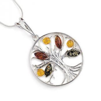 Collier arbre de vie ambre sur argent 925