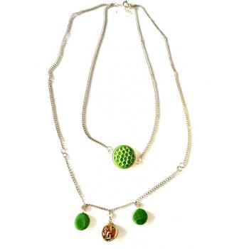 Double collier vert artisanal en boutons anciens
