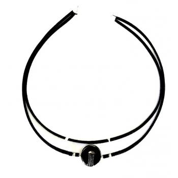 Collier artisanal double noir en bouton ancien