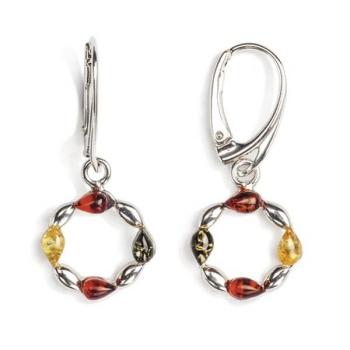 Boucles d'oreilles en ambre multicolore  sur argent 925