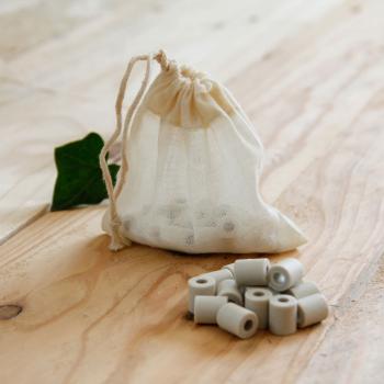 Lot de 15 perles de céramique - sachet à thé en coton bio