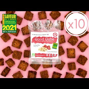 """x10 Cubes gourmands aux cranberries et noix de cajou """"Le Bien-Être"""" BIO - 10x 35g"""