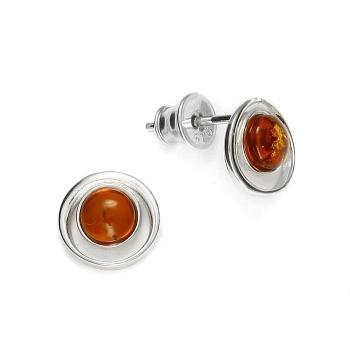 Boucles d'oreilles en ambre cognac sur argent 925 rhodié