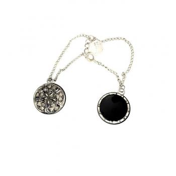 Bracelet pendeloques verre noir. Boucles d'oreilles artisanales en boutons anciens