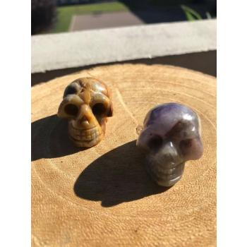 Duo Mini crânes de Méditation Agate Crazy Lace Et Amethyste.