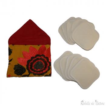 Lingettes démaquillantes lavables en coton bio et sa pochette