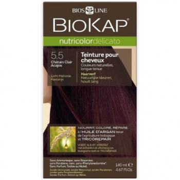 Teinture pour Cheveux 5.5 Châtain Clair Acajou - 140ml - BIOKAP