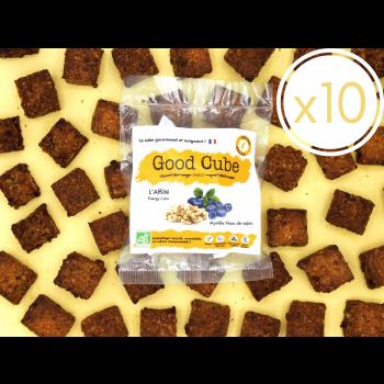 """x10 Biscuits aux myrtilles et noix de cajou """"L'Affûté"""" réduit en sucre et graisse - 10x 35g"""