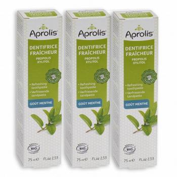 Lot de 3 Dentifrices Fraîcheur goût Menthe 75ml Bio - Aprolis