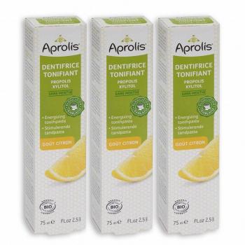 Lot de 3 Dentifrices Tonifiant goût Citron 75ml Bio - Aprolis
