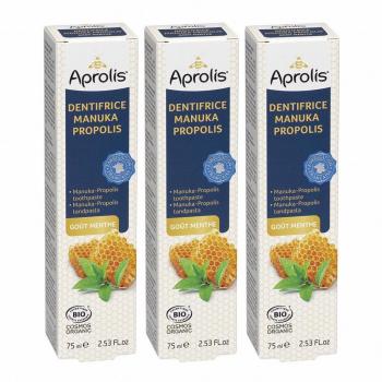 Lot de 3 Dentifrices Manuka-Propolis goût menthe 75ml Bio - Aprolis