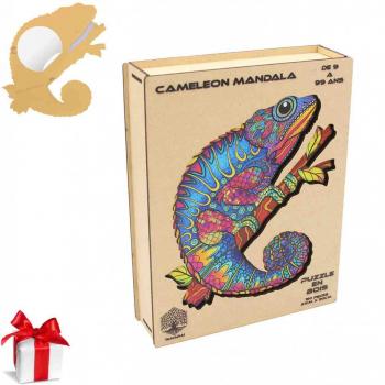 Puzzle en Bois Pour Adultes et Enfants, Puzzles en pièces d'animaux de forme unique, casse-tête en bois - CAMELEON