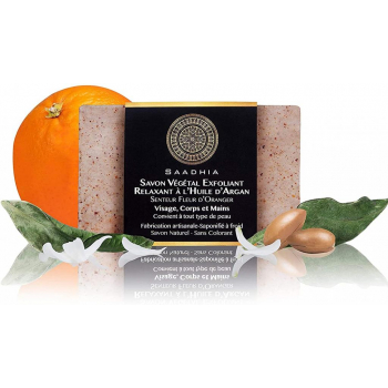 Savon Végétal Relaxant à l'Huile d'Argan Senteur Fleur d'Oranger - Saponifié à froid & 100% Naturel - 100g