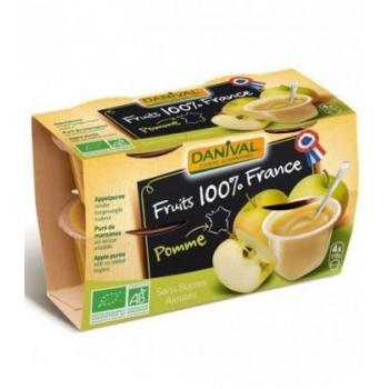 DANIVAL - Purée pomme nature 100% France bio sans sucres ajoutés