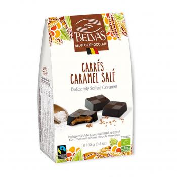 Carrés au caramel & sel de Guérande 100g bio - Belvas Chocolaterie Belge