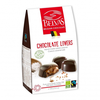 Coeurs caramel & sel de Guérande 100g bio - Belvas Chocolaterie Belge