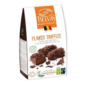Truffes aux paillettes de chocolat 72% vegan 100g bio - Belvas Chocolaterie Belge