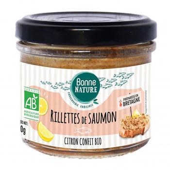 Rillettes de saumon et citron confit bio 90g bio - Bonne Nature