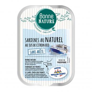Sardines MSC au naturel au jus de citron Bio et sans arête 115g - Bonne Nature
