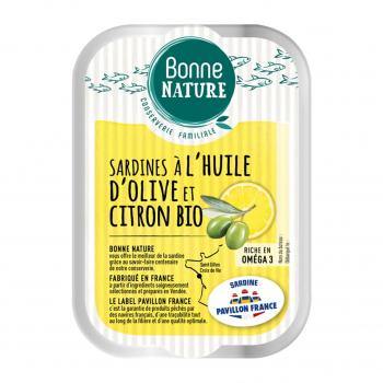 Sardines MSC à l'huile d'olive et citron Bio 115g - Bonne Nature