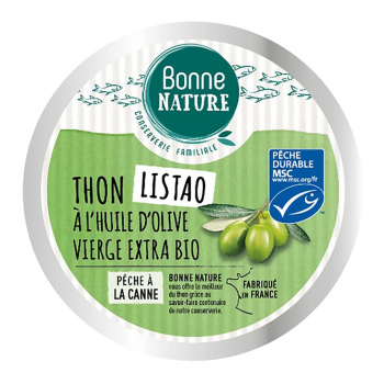 Thon listao MSC à l'huile d'olive Bio 160g - Bonne Nature