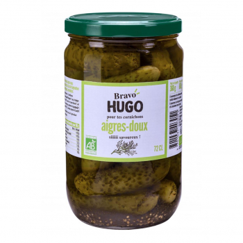 Cornichons aigres-doux à l'aneth 72cl bio - Bravo Hugo