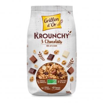 Céréales Krounchy 3 chocolats 500g bio - Grillon d'Or
