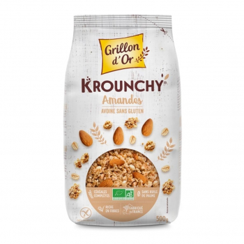Céréales Krounchy avoine-amande sans gluten 500g bio - Grillon d'Or