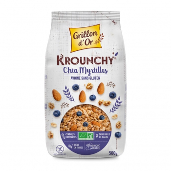 Céréales Krounchy avoine. chia et myrtille sans gluten 500g bio - Grillon d'Or