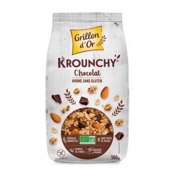 Céréales Krounchy avoine-chocolat sans gluten 500g bio - Grillon d'Or