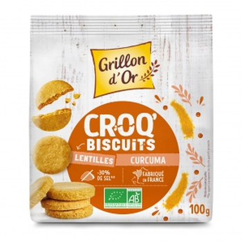 Croq'biscuits lentilles et curcuma 100g bio - Grillon d'Or