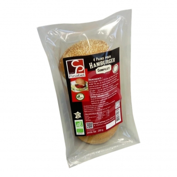Pain complet pour hamburger x4 - 250g bio - Pinabel
