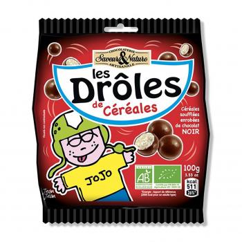 Drôles de céréales enrobées de chocolat noir 100g bio - Saveurs et Nature