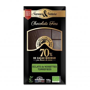 Chocolat noir 70% à la noisette 100g bio - Saveurs et Nature