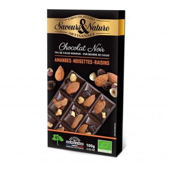 Chocolat noir 70% aux amandes. noisettes et raisins secs 100g bio - Saveurs et Nature