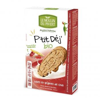 Biscuits P'tit Déj' baies et graines de chia vegan 190g bio - Moulin du Pivert