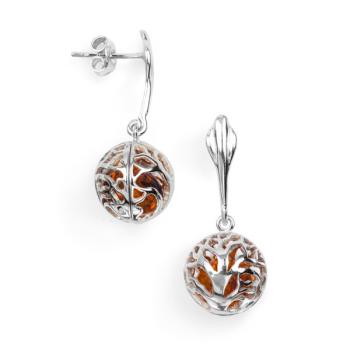 Boucles d'oreilles en ambre cognac sur argent 925