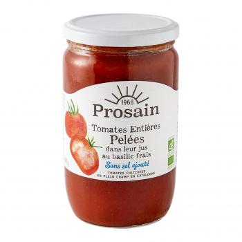 Tomates entières pelées-basilic sans sel ajouté 660gr bio - PROSAIN