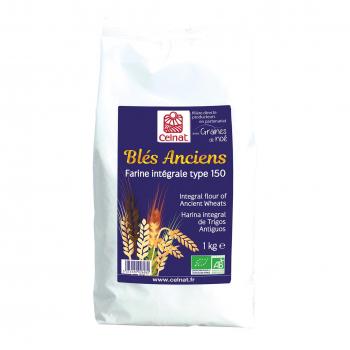 Farine de blés anciens intégrale T150 1kg bio - Celnat