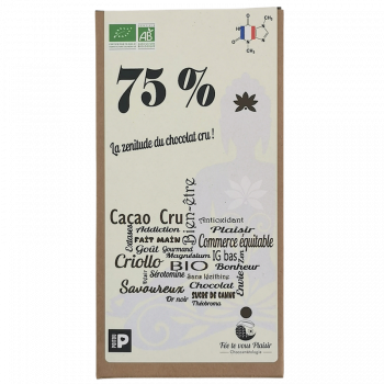 Tablette de chocolat Bio 75% cru