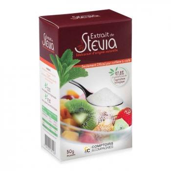 COMPTOIRS ET COMPAGNIES - Edulcorant à base de Stévia en poudre - Boîte de 50g