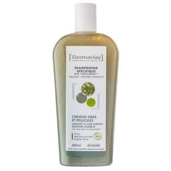 DERMACLAY - Shampoing Bio Capilargil Cheveux gras & Pellicules Argile verte 400ml
