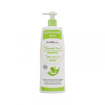 Moussant 3 en 1 Bébé Bio - Cheveux, corps et bain - 500ml